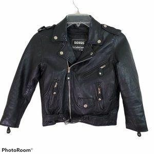 Kids Leather Moto Biker Jacket